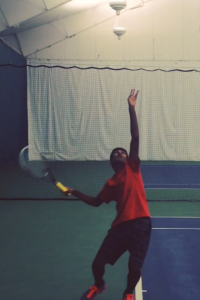 Nakul Narendran, 11, tore his medial collateral ligament (MCL) while practicing for the 2014 season. He has been on the road to recovery for the past three months, and is expected\ to be healthy by spring. The tennis team will begin its quest for a state title in March. Photo courtesy of Nakul Narendran.