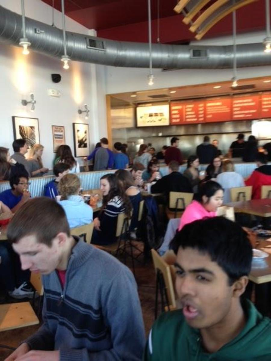 Chipotle was full of students and students' family members on Feb. 19, the day of The Leaf fundraiser. The Leaf received 50% of all proceeds. The large crowds show that it was very successful in funding The Leaf Newspaper.