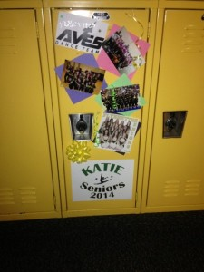The locker of senior Flyerette Katie Pruitt is decorated on Mon. Feb. 10 in honor of senior night. The 12 senior lockers were decorated by the seven underclassmen. Coach McNamara and underclassman brought the materials needed. Photo courtesy of Lauren Kurtzer.
