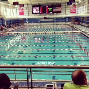 The Miami pool features two separate pools during the short course season. One pool is for competition and the other is for warming up and warming down in. The district meet was held here from February 14 -15, 2014. Photo Courtesy: Grace Deng