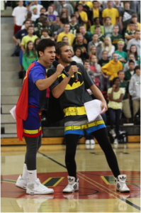 At the fall pep rally it was all student run and had a theme of superheroes. The adults, with a winter Olympics theme, ran the winter pep rally. The change from a student run pep rally to a teacher run one was something new to the school. Photo Courtesy of McDaniel's Photography.