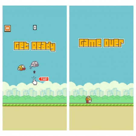Flappy Bird was developed by Ngueyn Ha Dong. The objective of the game is to guide a yellow bird through two green pipes. If the bird touches any of the pipes or the floor, it's game over.  Photo courtesy of Beverly Liu