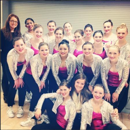 The Flyerettes are preparing to compete with their hip-hop dance at OHSAA Regional Competition at Springboro High. They did not make it to state but continued performing at basketball games.  On March 27 the team will gather one last time to reminisce on the past season. Photo courtesy of Ashley McNamara.