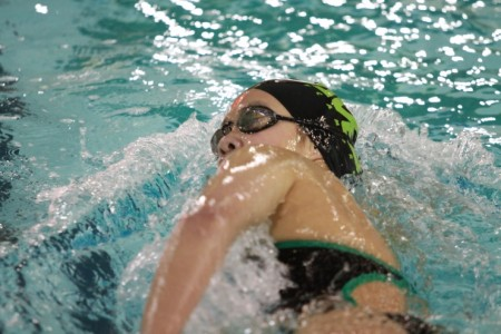 Priscilla Wu, 10 swims the 100 yard breast stroke. During the offseason, Wu opts to swim at a local pool or run. Her season however, has not ended yet as she will be competing in the USA Swimming Sectional meet this weekend. (Photo courtesy of McDaniel's photography)