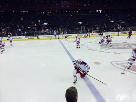 The New York Rangers prepare to face the Columbus Blue Jackets in a regular season game. All fans can watch 20 minutes of practice before the game starts. The Rangers against the Blue Jackets is usually a good game since both are rivalry teams