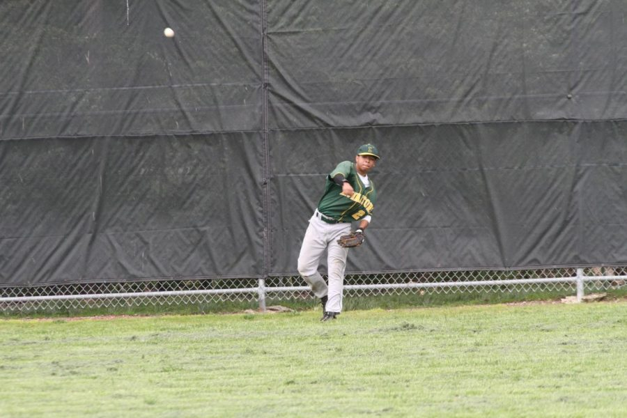 Greg Simpson, 12, throws a ball from just short of the wall. Simpson lead the team in batting average this season. He was not only a baseball star, but a football star, being the starting quarterback for varsity. Photo Credit: McDaniel's Photography