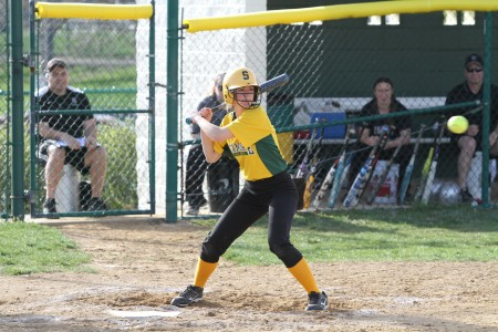 Ellen Martinson, 11 always comes through with hits for her team. She also has played good defense all year. Her great plays at third base have helped the team. Photo courtesy of McDaniel photography.