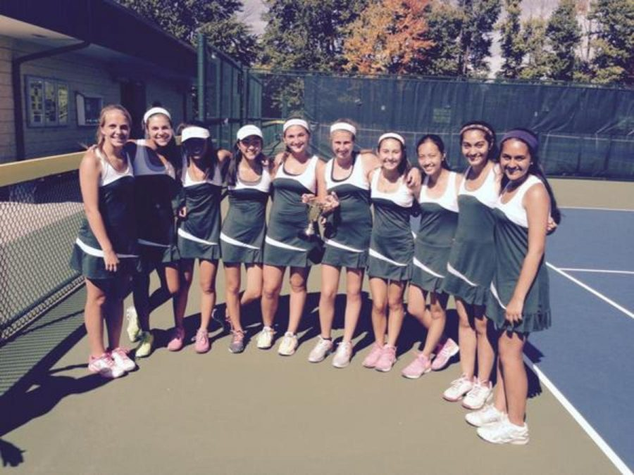 The+Varsity+B+Tennis+Team+won+the+Sycamore+Cup+tournament.+The+two+captains%2C+juniors+Raquel+Levitt+and+Melissa+Goodman+hold+the+trophy.+%28PHOTO+BY+MICHAEL+TEETS%29