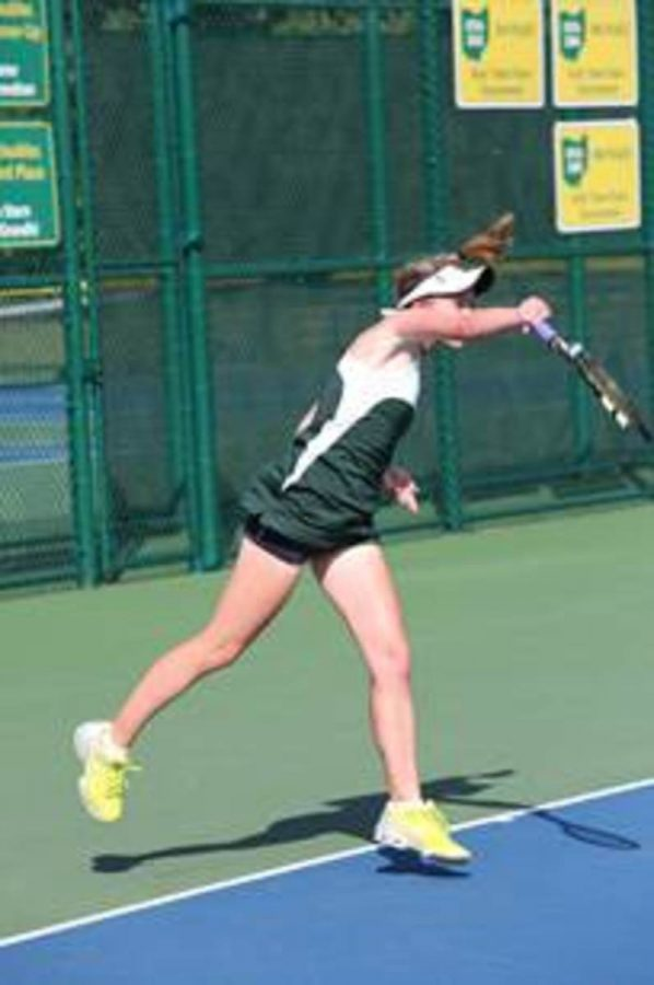 Abele+practices+her+serve+during+a+match.++A+serve+one+of+the+most+important+aspects+of+a+player%27s+game.++Alexa+puts+a+lot+of+time+into+perfecting+her+serve.