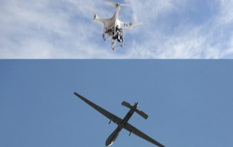 Shown above are two different types of drones, side by side, the warring and 'suburban' kind. One is used to kill, the other used for entertainment or just taking photographs and video.