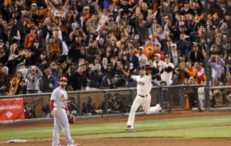 Travis Ishikawa celebrates after hitting a walk-off three-run home run to send the Giants to the World Series. The Giants have won the World Series two of the past four years (in 2010 and 2012), and are looking for their third championship in the last five years.