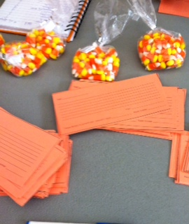Freshman sell the bags of candy corn at lunch. The class of 2018 has been working on this fundraiser for several weeks in preparation for the sale. Each bag is one dollar and they will be sold on Oct 29, 30, and 31.