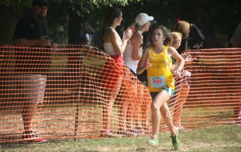 Rose Menyhert, 12, sprints to the finish at the Greater Miami Conference championships. Menyhert led the team to a fifth place finish. Both the boys and girls cross country teams will have to place in the top four at Districts to advance to Regionals. Photo Courtesy of Sarah Guckenberger.