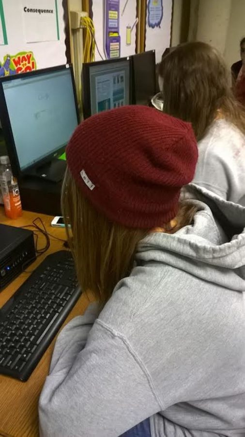 Wearing+a+hat+is+against+the+dress+code%2C+but+this+rule+is+not+enforced+strictly.+Freshman+Taylor+Close+has+worn+a+hat+all+day+but+nothing+was+said+to+her.+Teachers+do+not+feel+that+hats+are+a+huge+problem.+