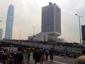 """Thousands of people have been gathering in the central districts of Hong Kong Island and Kowloon. The crowd consists of university and high school students, older adults and onlookers of all ages. The protests are massive, taking over the main highway that runs across downtown."" Subira Popenoe said."