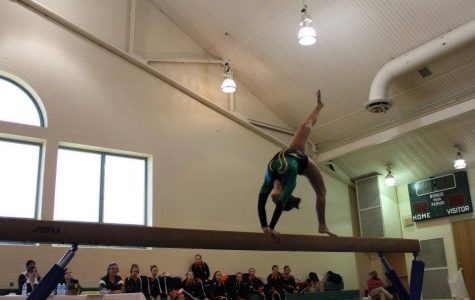 Senior Molly Gearin competes on the beam at a meet last year. Beam is her favorite event. Gearin is looking for interested students to join the team.