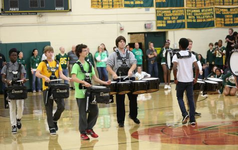 The Sycamore Drum Line performed during the Pep Rally on Oct. 10th. These were one of many successful attempts to pump up the crowd.