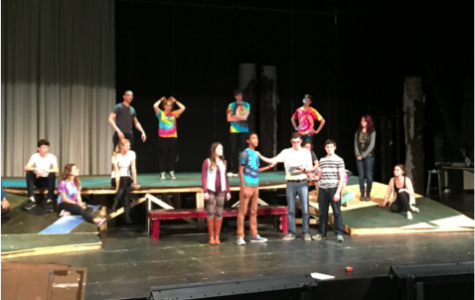 Students in Acting Ensemble rehearse a scene from