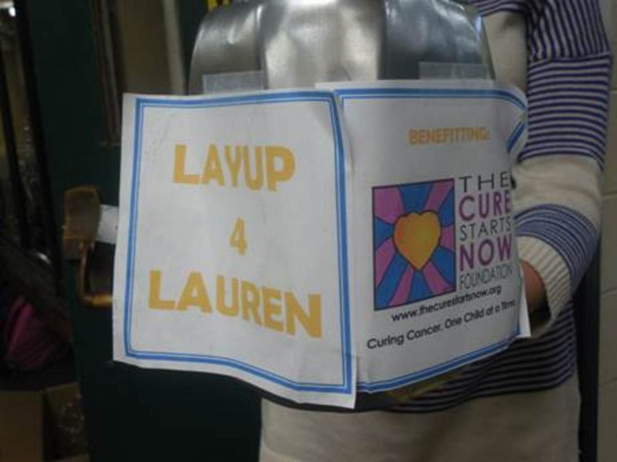 Layups+for+Lauren+was+held+in+the+gymnasium+during+all+lunches+today.+Students+and+teachers+gave+a+monetary+donation+so+that+they+could+shoot+baskets+during+their+lunch.+The+event+raised+money+for+the+Lauren+Hill+foundation+which+raises+money+and+awareness+for+children%27s+cancer.