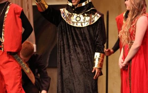 Senior Anthony Popenoe performs in the Aves Theatre's production of Aida. In