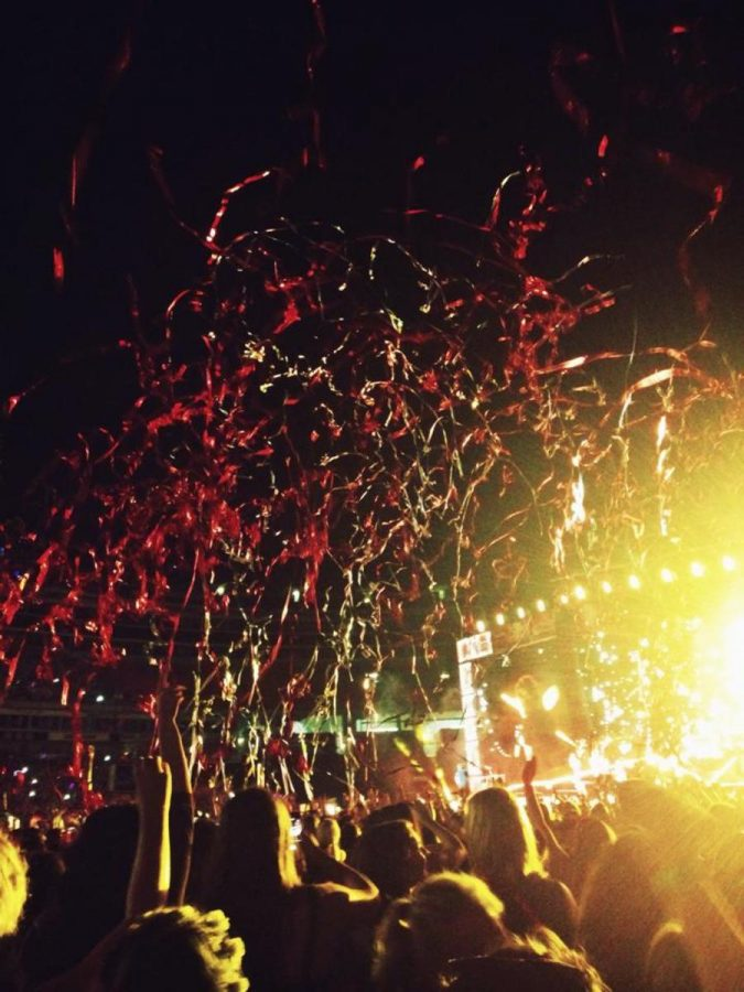 Confetti+falls+at+the+One+Direction+concert+in+Chicago+in+summer+of+2014.+Several+groups+of+students+traveled+five+hours+for+the+event.+Many+bought+their+tickets+a+year+in+advance.+