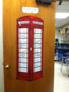 Mrs. Margaret Stone has a great love for the Potter series. A copy of the telephone box used to enter the ministry of magic is displayed on her door. Students write fun comments pertaining to the series on it.