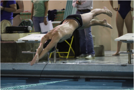 To start off all races but backstroke swimmers must learn to dive off the block.  The swimmer will use their arms to swing and propel themselves forward into the water. The straighter and farther the swimmer enters the water the faster they will swim during a race.
