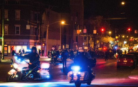 Police surround peaceful protestors in downtown Cincinnati, Ohio after the Michael Brown verdict. The decision not to indict Officer Darren Wilson initiated disputes all over the world, including Cincinnati. SHS teacher Meredith Blackmore led a classroom discussion on the matter, encouraging the students to form their own views and defend all sides of the story.