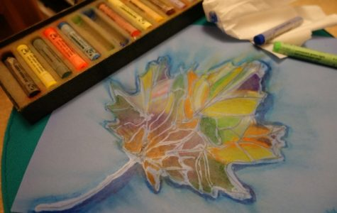Try this easy fun piece of art.  Draw or outline a large leaf using school glue.  After the glue dries, fill each section of the leaf with different pastel colors. Spread the color using a tissue and enjoy your masterpiece.
