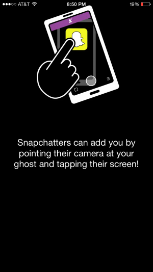 This is the way Snapchaters can add each other by taking a picture of someone else's phone. This makes it much easier for people to add each other, rather than exchanging user names. This is also a new part of the 9.0.2