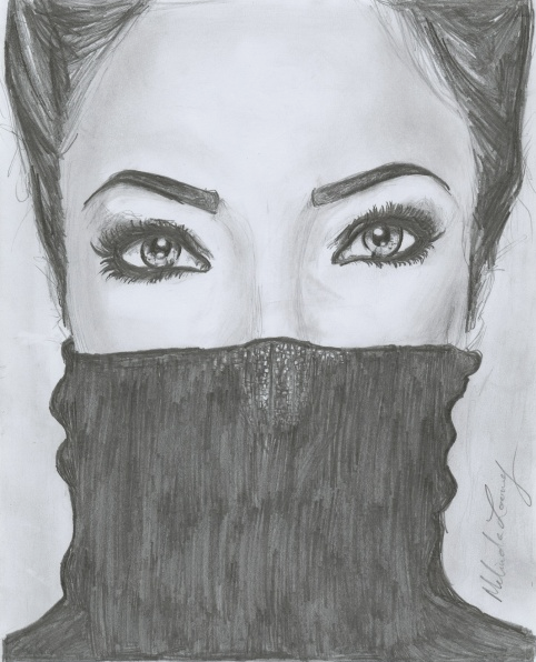 Shown above is an honorable mention pencil drawing from the Cincinnati Library's Teen Drawing Contest by Melinda Looney Ho. Drawings are judged on creativity, style, drawing ability, and contest theme. The theme is