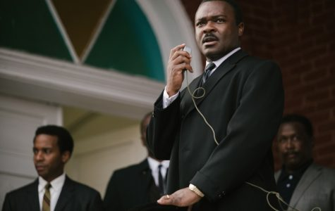From left, Andrew Holland plays Andrew Young, David Oyelowo plays King, and Wendell Pierce plays Rev. Hosea Williams.  It is up for best picture this year.  So far, it has received a popular audience.