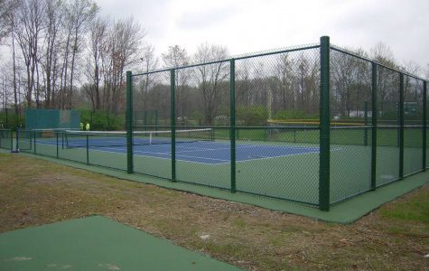 These are the new courts at SHS. This is the first time the boys tennis team will be using the seven courts for tryouts. Tryouts are in less than a week.
