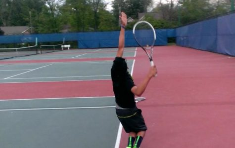 Among the players trying out for a spring sport is sophomore tennis player, Neil Yejjey. When Yejjey is on the courts, he prefers playing in singles. He hopes to be on varsity. Photo Courtesy of Neil Yejjey
