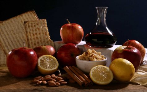 These are foods commonly eaten by Jews during Passover. There is Matzah, wine, and various fruits. The food may not be the most desirable, but each year, Jews practice this cuisine.