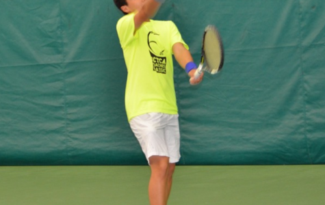 Photo courtesy of Neil Yejjey Liou serving. His favorite shot is his serve and forehand. He considers Fernando Verdasco his favorite player.