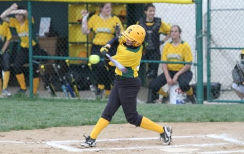 Freshman Jessica Fehr was the lead off of batter for the varsity team. Fehr's batting average for the season ended up being .367, third only to Ellen Martinson and Elizabeth Izworski .All photos courtesy of McDaniel's Photography.