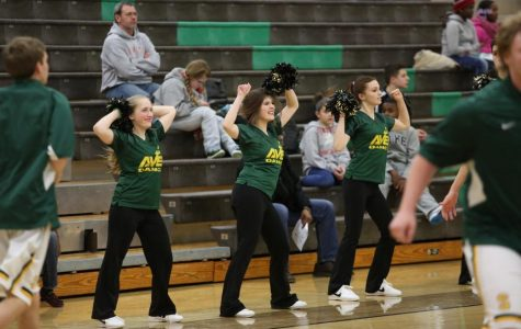 """One of my other highlights of being on the Flyerettes was definitely the basketball games. I loved dancing at all the games during pre-game and halftime. I also liked how we got to do pom, jazz, and hip hop all in one routine which was different,"" Brod said. (Far right) Photo courtesy of McDaniel's Photography."