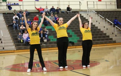 "Seniors Leah Brod, Emily Spry, and Kathryn Tenbarge taking their bow. ""I have been on the team with these two girls for years and have gotten really close with them so it is going to be really hard to not be dancing with them next year,"" Brod said. ""We do everything together."""