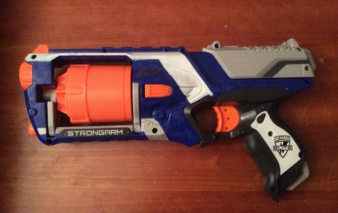 Nerf guns like the one pictured above is one of the more popular ones. It shoots soft foam darts. Players also can use PVC pipes to propel darts at their target.