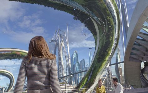 """The world of """"Tomorrowland"""" is explored. The city design is based on the park and retro-futuristic art. The city contains Easter eggs in the background such as Space Mountain."""
