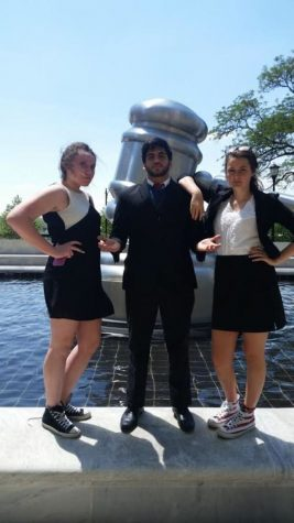 Hayley Kennedy, Animesh Bapat and Maddie Driscoll pose in front of the Ohio Supreme Court building. The three juniors made up the green team along with Isaac Harmon. They failed to qualify for the round of eight, but performed well. PC: Josh Patterson