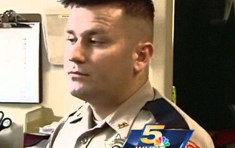 This is Jesse Kidder, a rookie police officer in the New Richmond Police Department. He has been receiving a lot of attention and praise lately from colleagues, reporters, and strangers for refusing to fire on a charging suspect demanding to be shot. Kidder's restraint spared the suspect's life, even though his chief said he would have every right to pull his trigger. Photo courtesy of Maddie Schramm.