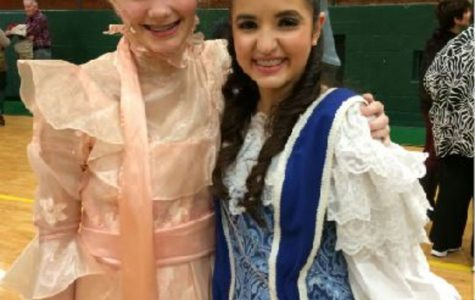 """London Brinkman and Sarah Guedira are currently freshman that are actively involved in theatre. They are in costume after performing """"The Music Man"""" last spring."""