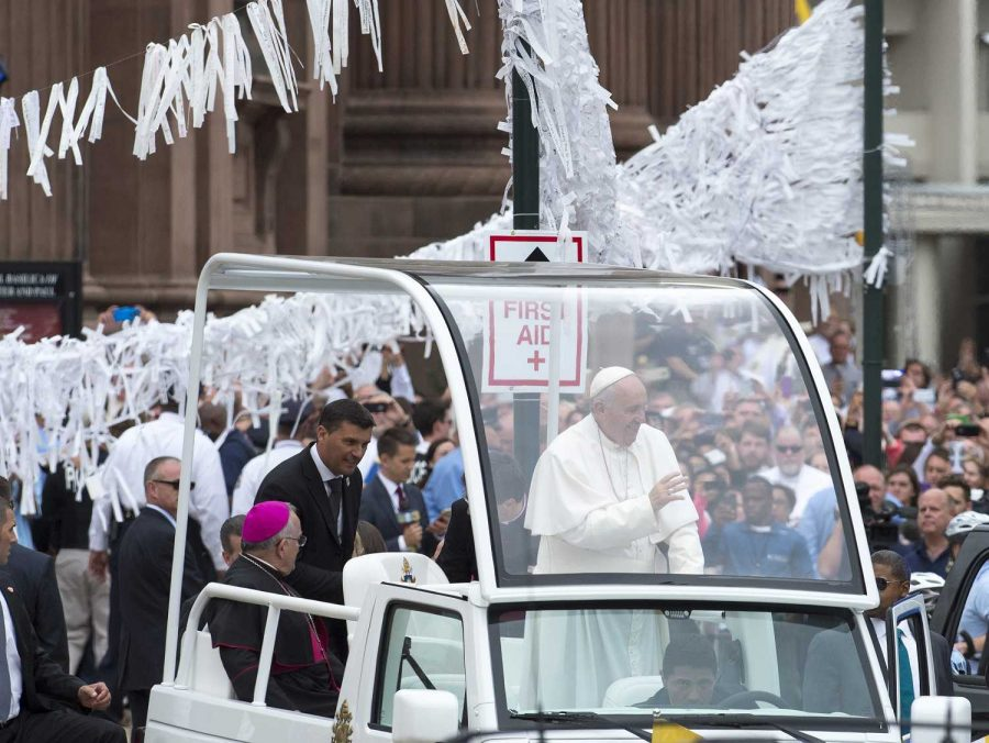 During+each+of+his+stops+the+Pope+is+paraded+through+the+streets.+The+car+he+does+this+in+has+been+nick+named+the+Pope+mobile.+During+each+parade+he+waved+at+those+who+have+come+to+see+him.
