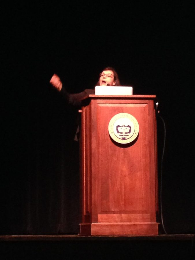 Author+Sonia+Nazario+gives+a+lecture++on+her+book+and+immigration+on+Tues.+Nov.+3+at+Mt.+St.+Joseph+University.+Freshmen+at+the+university+read+the+book+in+English%2C+over+the+summer+and+they+brought+Nazario+to+their+campus.+Nazario%E2%80%99s+book%2C+%E2%80%9CEnrique%E2%80%99s+Journey%2C%E2%80%9D+won+the+most+prestigious+journalism+award+in+the+Pulitzer+Prize.+Photo+credit%3A+Ms.+Meredith+Blackmore.%0A