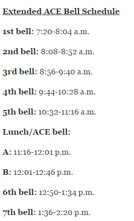 Extended ACE bell schedule