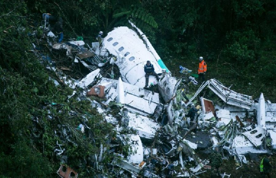 An+Avro+RJ85%2C+carrying+81+member+of+a+football+team+from+Chapecoense%2C+crashed+near+Medellin%2C+Columbia.+The+team+was+scheduled+to+play+Wednesday+night+in+the+first+round+of+the+Copa+Sudamerica.+The+club+had+recntly+rose+from+a+low+level+to+a+division+one+team%2C+and+the+200%2C000+residents+of+Chapecoense+were+devastated+by+the+loss.