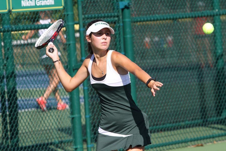 WHACK. Sarah Sotropa, 12, hits a menacing forehand against Princeton. Sarah played first singles on Varisty Green  throughout the season. The varsity green team practices almost everyday after school, unless they have a match.