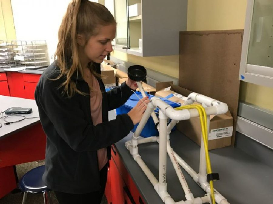 TIME+TO+HURL.+Madison+Ringer%2C+11%2C+demonstrates+a+PVC+catapult-style+launcher+made+by+a+previous+student.+Ringer+plans+to+construct+a+similar+device+with+partner+Hannah+Rozenson%2C+11.+%E2%80%9CWe%E2%80%99re+thinking+of+making+a+catapult+out+of+wood+instead.+I+want+to+do+well+and+make+it+all+the+way+to+the+end%2C%E2%80%9D+Ringer+said.